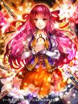 1girl :d chains clock collarbone copyright_name eyebrows_visible_through_hair floating_hair frilled_skirt frills league_of_dragoons long_hair looking_at_viewer miniskirt official_art open_mouth orange_skirt pink_hair red_eyes rioka_(southern_blue_sky) shiny shiny_hair skirt smile solo standing very_long_hair