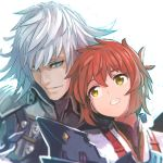 1boy 1girl armor blue_background blue_eyes blush commentary_request gloves highres long_hair looking_at_viewer lora_(xenoblade_2) nintendo parted_lips pauldrons redhead reiesu_(reis) shin_(xenoblade) short_hair simple_background smile white_hair xenoblade_(series) xenoblade_2 xenoblade_2:_ogon_no_kuri_ira yellow_eyes