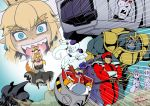 3girls 6+boys ahoge anger_vein artoria_pendragon_(all) black_dress blonde_hair blue_background bowsette braid brown_hair cape chasing commentary crossed_arms crossover darth_vader dr._eggman dragon_ball dress facial_hair fate/stay_night fate_(series) fleeing french_braid frieza hat helmet highres hovercraft jitome kamizono_(spookyhouse) kantai_collection kongou_(kantai_collection) long_hair mario_(series) marvel megatron multiple_boys multiple_crossover multiple_girls mustache new_super_mario_bros._u_deluxe nintendo no_pupils nontraditional_miko open_mouth peaked_cap pointy_ears projected_inset red_sclera robot saber sharp_teeth sonic_the_hedgehog star_wars street_fighter super_crown sweatdrop teeth thanos transformers vega watercraft