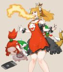 2girls apron black_dress black_nails blonde_hair bowser bowser_jr. bowsette bracelet breathing_fire child collar dress earrings fang fire genderswap genderswap_(mtf) hands_on_own_head horns jewelry mario_(series) mother_and_daughter multiple_girls nail_polish new_super_mario_bros._u_deluxe nintendo nintendo_switch redhead shell short_ponytail shouting spiked_bracelet spiked_collar spikes super_crown tearing_up tetuhei