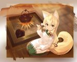 1girl animal_ears apron bangs blonde_hair blush brown_eyes closed_mouth copyright_request cura eyebrows_visible_through_hair fire fox_ears fox_girl fox_tail green_kimono hair_between_eyes hair_ribbon highres holding japanese_clothes kappougi kettle kimono lap_pillow_invitation long_hair looking_at_viewer low-tied_long_hair mimikaki red_ribbon ribbon seiza sitting smile solo tail very_long_hair white_apron