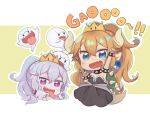+_+ 2girls :p armpits arms_up baby_bowser blonde_hair blue_eyes blush boo bowsette bracelet character_request chibi collar commentary_request crown dress eyebrows_visible_through_hair fang gao genderswap genderswap_(mtf) hair_between_eyes horns humanization jewelry king_boo mario_(series) multiple_girls nintendo open_mouth pointy_ears sharp_teeth simple_background spiked_bracelet spiked_collar spikes tail teeth tongue tongue_out totatokeke turtle_shell violet_eyes white_hair