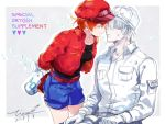1boy 1girl ae-3803 artist_name baseball_cap belt cabbie_hat closed_eyes commentary_request couple dated english gloves hat hataraku_saibou hetero imminent_kiss jacket long_sleeves red_blood_cell_(hataraku_saibou) red_jacket redhead short_hair shorts signature tina_(tinashan2) u-1146 white_blood_cell_(hataraku_saibou) white_hair white_hat white_skin