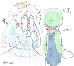 1boy 1girl blush brown_hair clenched_hand commentary covering_eyes covering_face crown dress ear_blush frills full-face_blush gloves hat long_hair looking_at_another looking_back luigi luigi's_mansion mario_(series) motion_lines new_super_mario_bros._u_deluxe nintendo panzuban pointy_ears princess_king_boo puffy_short_sleeves puffy_sleeves short_sleeves simple_background sketch super_crown twitter_username wavy_mouth white_background white_dress white_hair
