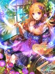 1girl :d arm_strap blonde_hair bracelet breasts choker cleavage dragon_tactics dress floating_hair flower frilled_dress frills hair_between_eyes hair_ornament highres holding_brush jewelry long_hair medium_breasts official_art open_mouth purple_flower rioka_(southern_blue_sky) shiny shiny_hair short_dress sitting sleeveless sleeveless_dress smile solo strapless strapless_dress very_long_hair violet_eyes wheelchair