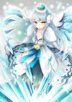 1girl collarbone crown earmuffs elsword eve_(elsword) fluffy_collar forehead_jewel glacier gradient_hair highres ice ice_wings kumataro long_hair multicolored_hair ribbon snowflakes wings