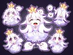 1girl :> :p boo chibi closed_eyes covering_face crown detached_sleeves dress ghost gradient gradient_background hair_between_eyes highres long_hair luigi's_mansion mario_(series) multiple_persona new_super_mario_bros._u_deluxe nintendo princess_king_boo smile super_crown tearing_up tongue tongue_out v_arms violet_eyes white_dress white_hair yitsune_melody