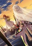 2girls altera_(fate) back barefoot brown_hair clouds cloudy_sky commentary dress faceless faceless_female fate/extella fate/extra fate_(series) from_behind full_body_tattoo headdress highres holding holding_sword holding_weapon kishinami_hakuno_(female) legs long_dress long_hair multicolored multicolored_sky multiple_girls outdoors photon_ray skirt sky sword tattoo veil weapon white_dress white_skirt xinweikun