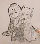 1boy 1girl animal_ears cat_ears crusch_karsten eating feeding felix_argyle re:zero_kara_hajimeru_isekai_seikatsu