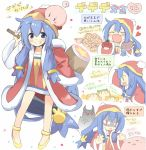 1girl :d ? ^_^ arm_up bandana_waddle_dee bangs blue_eyes blue_hair blush boned_meat chibi closed_eyes closed_eyes coat collarbone commentary_request dress eyebrows_visible_through_hair fang flower food fur-trimmed_coat fur-trimmed_sleeves fur_trim genderswap genderswap_(mtf) grin hair_between_eyes hair_ornament hammer hat heart highres hizuki_yayoi holding holding_food holding_hammer holding_plate king_dedede kirby kirby_(series) long_hair long_sleeves mario_(series) meat new_super_mario_bros._u_deluxe nintendo open_mouth outstretched_arm personification plate red_coat red_dress red_hat shaded_face shoes short_dress smile spoken_question_mark standing strapless strapless_dress very_long_hair waddle_dee wide_sleeves yellow_flower