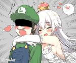>_< 1boy 1girl bangs bare_shoulders blush boo breasts cleavage closed_eyes crown dress earrings elbow_gloves emphasis_lines eyebrows_visible_through_hair facial_hair flying_heart flying_sweatdrops frilled_dress frilled_gloves frills ghost gloves green_hat green_sweater hair_between_eyes hat heart heart_wings hug hug_from_behind jewelry large_breasts long_hair luigi luigi's_mansion mario_(series) mini_crown mustache new_super_mario_bros._u_deluxe nintendo no_bra open_mouth overalls princess_king_boo scared shaded_face sharp_teeth sideboob sleeveless sleeveless_dress super_crown super_mario_bros. sweater teeth white_dress white_gloves white_hair wings yadapot