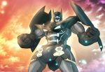 absurdres bat batman batman_(series) blue_eyes crossover dc_comics glowing glowing_eyes gurren-lagann highres insignia mecha no_humans robot shamserg shoulder_armor super_robot tengen_toppa_gurren_lagann visor
