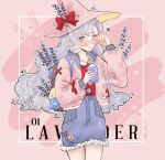 1girl bangs bare_legs blouse blue_eyes blue_skirt bow buttons cerithe closed_mouth collar commentary cowboy_shot cup english_commentary eyebrows_visible_through_hair flower frilled_skirt frills glasses hat hat_bow hat_flower hat_ribbon holding holding_cup jacket lavender_(flower) lavender_hair long_hair long_sleeves original parted_bangs pink pink_background pink_jacket ribbon skirt witch witch_hat