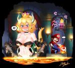 1boy 2girls anger_vein armlet bare_shoulders blonde_hair blood blue_eyes blush bowsette bracelet burnt_clothes buttons cage castle collar crown dress earrings game genderswap genderswap_(mtf) highres horns jazzjack jewelry mario mario_(series) molten_rock multiple_girls new_super_mario_bros._u_deluxe nintendo nosebleed pointy_ears ponytail princess_peach sharp_teeth spiked_bracelet spiked_collar spikes super_crown super_mario_bros. tail tears teeth torch turtle_shell