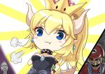 1boy 2girls :3 bangs black_dress blonde_hair blue_eyes blush_stickers bowsette bracelet breasts brown_hair closed_mouth collar color_drain commentary crown dress earrings eyebrows_visible_through_hair fang fang_out flat_cap hair_between_eyes hat horns jewelry just_as_planned long_hair mario mario_(series) medium_breasts mini_crown multiple_girls new_super_mario_bros._u_deluxe nintendo overalls pointy_ears princess_peach red_hat red_shirt shirt spiked_bracelet spiked_collar spiked_tail spikes strapless strapless_dress sunburst super_crown super_mario_bros. synn032 tail turtle_shell