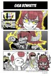 2girls 3boys aiming anger_vein angry aura bangs black_background blonde_hair blush bowsette bracelet breasts brooch captain_falcon clenched_hand clenched_teeth collar comic crazy_eyes crown dragonith earrings empty_eyes eyebrows fingernails flat_color floral_background giga_bowser glowing glowing_eyes grin hair_between_eyes halftone happy helmet horns jewelry kirby looking_down mario_(series) multiple_boys multiple_girls new_super_mario_bros._u_deluxe nintendo nose_blush open_clothes open_vest outstretched_arms ponytail princess_peach red_eyes redhead saliva scarf shaded_face sharp_fingernails sharp_teeth silent_comic size_difference smile spiked_bracelet spiked_collar spikes spread_arms star steam super_crown super_smash_bros_ultimate surprised tearing_up teeth toad upper_body vest white_background yellow_eyes yellow_scarf