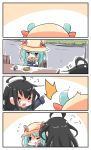 2girls 4koma ahoge animal_ears arm_up azur_lane black_hair black_shirt blue_dress blush_stickers chair chibi closed_eyes comic crossover dress eating flying_sweatdrops food green_eyes green_hair handkerchief hat highres kantai_collection long_hair mikazuki_(azur_lane) mikazuki_(kantai_collection) milk milk_carton mouse_ears multiple_girls namesake one_eye_closed open_mouth shirt shouting silent_comic sitting sketch straw surprised table taiyaki wagashi wiping wiping_face yagami_kamiya