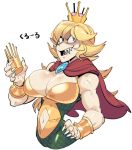 1girl black_eyes blonde_hair bodysuit bracer cape crazy_eyes cropped_torso donkey_kong_country genderswap genderswap_(mtf) hand_on_hip king_k._rool long_hair mario_(series) muscle muscular_female new_super_mario_bros._u_deluxe nintendo sharp_teeth sido_(slipknot) simple_background solo super_crown teeth uneven_eyes white_background
