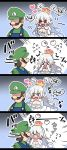 >_< /\/\/\ 1boy 1girl 4koma :d blush boo comic commentary_request covering_face crown dress earrings facial_hair flying_sweatdrops gloves hair_between_eyes hat heart jewelry long_hair looking_at_another looking_back luigi luigi's_mansion mario_(series) motion_lines mustache new_super_mario_bros._u_deluxe nintendo nose_blush open_mouth pink_eyes princess_king_boo shaded_face sharp_teeth smile super_crown teeth tongue tongue_out translation_request white_dress white_gloves white_hair