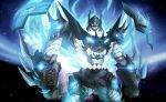 bat batman batman_(series) blue_eyes crossover glowing glowing_eyes insignia mecha no_humans robot shamserg shoulder_armor space spiral_power super_robot tengen_toppa_gurren-lagann_(mecha) tengen_toppa_gurren_lagann visor