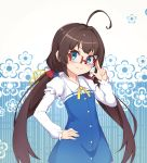 1girl ahoge bespectacled blue_eyes brown_hair closed_mouth dress eyebrows_visible_through_hair floral_background glasses hand_on_hip head_tilt highres hinatsuru_ai long_hair long_sleeves looking_at_viewer low_twintails muji_(majunduo) puffy_short_sleeves puffy_sleeves red-framed_eyewear ryuuou_no_oshigoto! school_uniform short_sleeves smile solo sparkle twintails v-shaped_eyebrows very_long_hair