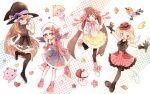 4girls :d atom_(@tom) bird black_dress black_hat black_legwear black_ribbon blue_(pokemon) breasts creature creatures_(company) crystal_(pokemon) dress fletchling flower foongus game_freak gen_1_pokemon gen_2_pokemon gen_5_pokemon gen_6_pokemon happy hat heart jigglypuff large_breasts medium_breasts multiple_girls nintendo open_mouth pantyhose pokemon pokemon_(creature) pokemon_special ribbon shoes small_breasts smile smoochum star thigh-highs whi-two_(pokemon) white_hat wings witch_hat y_na_gaabena