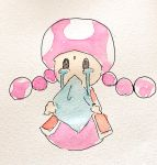 1girl braid crying handkerchief handkerchief_pull highres jealous mario_(series) mouth_pull new_super_mario_bros._u_deluxe nintendo solo streaming_tears tears toadette twin_braids vest