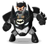 1boy absurdres batman batman_(series) blue_eyes cape crossover dc_comics highres insignia lagann mask mecha shamserg super_robot tengen_toppa_gurren_lagann visor