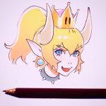1girl blonde_hair blue_eyes bowsette close-up collar earrings eyebrows_visible_through_hair face hair_between_eyes highres ilya_kuvshinov jewelry looking_at_viewer mario_(series) new_super_mario_bros._u_deluxe nintendo open_mouth pencil photo pointy_ears sharp_teeth short_hair short_ponytail solo spiked_collar spikes super_crown teeth white_background