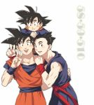 3boys :d arm_rest black_eyes black_hair blush brothers commentary crossed_arms dougi dragon_ball dragonball_z eyebrows_visible_through_hair father_and_son fingernails happy long_sleeves looking_at_viewer male_focus multiple_boys number number_pun open_mouth pinki_(shounenkakuseiya) short_hair siblings simple_background sleeveless smile son_gohan son_gokuu son_goten spiky_hair upper_body v white_background wristband