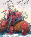 1girl :d bee_(deadflow) bird black_legwear chicken concon-collector cup dragon_girl dragon_horns dragon_tail fang highres horns japanese_clothes katana kimono kuryuu_kohaku long_hair obi obiage obijime open_mouth pale_skin pointy_ears sageo sakazuki same-hada sandals sash saya_(scabbard) smile solo sword tail thigh-highs tsuba_(guard) tsuka-ito tsuka_(handle) weapon yellow_eyes