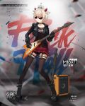 1girl amplifier animal animal_on_head artist_request aviator_sunglasses bangs black_footwear black_gloves black_jacket blonde_hair boots breasts brown_legwear brown_shirt cable character_name chilunchilun clothes_writing collarbone copyright_name demon_horns earrings electric_guitar full_body garter_straps girls_frontline gloves guitar gun holding holding_instrument horns instrument jacket jewelry leather leather_jacket looking_away m1897_(girls_frontline) multiple_earrings official_art on_head open_clothes open_jacket plaid plaid_skirt platform_boots punk red_skirt rocker-chic shirt short_hair shotgun shoulder_spikes sidelocks skirt small_breasts solo spikes stud_earrings studded_boots studded_choker studded_gloves studded_jacket studded_strap sunglasses thigh-highs thigh_strap weapon winchester_model_1897