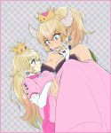 2girls bangs bare_shoulders blonde_hair blue_eyes bowsette breasts carrying cleavage commentary_request dress earrings elbow_gloves flying_sweatdrops gem gloves heart horns jewelry large_breasts long_hair looking_at_another mario_(series) multiple_girls new_super_mario_bros._u_deluxe nintendo pink_dress pointy_ears ponytail princess_carry princess_peach puffy_short_sleeves puffy_sleeves shell short_sleeves spiked_shell spikes sundomeya_(bang) super_crown super_mario_bros. white_gloves yuri