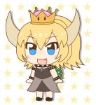 1girl :d arms_at_sides black_dress blonde_hair blue_eyes blush_stickers bowsette bracelet chibi collar commentary_request crown dress eyebrows_visible_through_hair fang full_body highres horns jewelry kemono_friends kemono_friends_pavilion long_hair looking_at_viewer mario_(series) new_super_mario_bros._u_deluxe nintendo open_mouth parody ponytail smile solo spiked_armlet spiked_bracelet spiked_collar spiked_shell spikes star starry_background style_parody super_crown super_mario_bros. turtle_shell