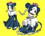 1girl bare_shoulders black_dress black_eyes black_hair black_legwear breasts broken broken_chain chain chains claws cleavage collar collarbone commentary cropped_legs double_bun dress elbow_gloves english_commentary eyelashes gloves highres jbbetz mario_(series) multiple_views new_super_mario_bros._u_deluxe nintendo pale_skin princess_chain_chomp sharp_teeth simple_background small_breasts solo strapless strapless_dress super_crown super_mario_bros. teeth thick_eyebrows thigh-highs upper_body yellow_background