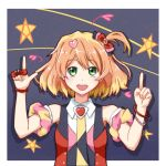 1girl blonde_hair blush bow brown_hair character_request copyright_request eyebrows_visible_through_hair green_eyes hair_ornament heart heart_hair_ornament highres index_finger_raised looking_at_viewer multicolored_hair open_mouth rayhwang red_bow short_hair sleeveless smile solo
