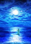 1girl blue blue_sky clouds cloudy_sky commentary_request dress floating_hair full_moon highres horizon kun52 long_dress long_hair moon night night_sky ocean original scenery see-through_silhouette sky solo standing tsukimi wading waves