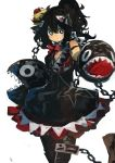 1girl absurdres black_eyes black_hair chains commentary_request crown dress highres kaamin_(mariarose753) looking_at_viewer mario_(series) new_super_mario_bros._u_deluxe nintendo princess_chain_chomp sharp_teeth simple_background sketch solo super_crown teeth white_background