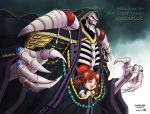 1boy 1girl :d ainz_ooal_gown black_robe black_sclera brown_hair closed_eyes copyright_name dated fang fangs highres hood hood_up jewelry joshua2368 lich long_sleeves looking_at_viewer low_twintails necromancer nemu_emmot open_mouth overlord_(maruyama) red_eyes ring robe skeleton smile sparkle standing twintails wide_sleeves
