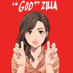 1girl air_quotes blush breasts brown_eyes brown_hair cleavage collared_shirt commentary_request fingernails hair_over_shoulder hands_up looking_at_viewer medium_breasts munakata_(hisahige) nail_polish open_mouth orange_shirt popped_collar red_background round_teeth shin_godzilla shirt simple_background solo teeth upper_body white_nails wing_collar
