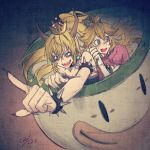 2girls blonde_hair blue_eyes blush bowsette bracelet collar crown dress fingernails highres horns jewelry koopa_clown_car mario_(series) multiple_girls new_super_mario_bros._u_deluxe nintendo ponytail princess_peach sharp_fingernails sharp_teeth spiked_armlet spiked_bracelet spiked_collar spikes super_crown tears teeth