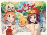 2girls beanie black_hair blue_eyes brown_hair clouds creatures_(company) day game_freak gen_3_pokemon gen_4_pokemon gen_7_pokemon grass hairband haruka_(pokemon) hat highres mizuki_(pokemon) mu_acrt multiple_girls nintendo open_mouth outdoors pokemon pokemon_(creature) pokemon_(game) pokemon_on_head pokemon_oras pokemon_sm red_hat rotom rotom_dex rowlet short_hair short_sleeves sky torchic tree