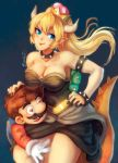 1boy 1girl armlet bare_shoulders black_dress blonde_hair blue_eyes bowsette bracelet breasts collar crown dress earrings facial_hair heart heart-shaped_pupils horns jewelry mario mario_(series) mustache new_super_mario_bros._u_deluxe nintendo overalls plumber pointy_ears ponytail spiked_bracelet spiked_collar spiked_shell spiked_tail spikes strapless strapless_dress super_crown symbol-shaped_pupils tail turtle_shell zkoyllar