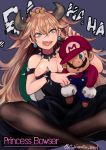 1boy 1girl absurdres artist_name big_nose black_dress black_legwear blonde_hair blue_eyes bowsette bracelet breasts character_name choker cleavage crown dress earrings facial_hair hat_over_one_eye highres horns jewelry large_breasts long_hair looking_at_viewer mario mario_(series) mini_crown mustache new_super_mario_bros._u_deluxe nintendo overalls pantyhose sharp_teeth sitting sitting_on_lap sitting_on_person spiked_armlet spiked_bracelet spiked_choker spikes super_crown super_mario_bros. teeth tokiwata_soul very_long_hair