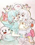 2018 2girls aqua_hair artist_name ass_grab bangs blush boo bow breasts brooch cleavage colored_eyelashes crown dated drill_hair earrings eyebrows_visible_through_hair fan fingernails folding_fan furrowed_eyebrows ghost hair_between_eyes hair_bow holding holding_fan jewelry large_breasts long_hair luigi's_mansion mario_(series) multiple_girls nail_polish new_super_mario_bros._u_deluxe nintendo open_mouth paper_mario princess_king_boo puffy_short_sleeves puffy_sleeves red_bow red_eyes red_nails resaresa sharp_teeth short_sleeves small_breasts super_crown super_mario_bros. teeth tongue tongue_out traditional_media tsukihi_(tsukihin) twin_drills white_hair yuri