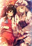 2girls autumn_leaves bangs bare_shoulders black_hair blonde_hair blush bow breasts brown_eyes commentary_request cowboy_shot detached_sleeves dress eye_contact frilled_bow frilled_shirt_collar frills hair_bow hair_tubes hakurei_reimu hand_holding hat hat_ribbon head_tilt large_breasts layered_dress leaf long_hair long_sleeves looking_at_another lying midriff_peek mob_cap multiple_girls nose_blush on_back parted_lips petticoat red_bow red_ribbon red_skirt ribbon ribbon-trimmed_skirt ribbon-trimmed_sleeves ribbon_trim shinoba sidelocks skirt skirt_set smile tabard touhou white_dress white_hat wide_sleeves yakumo_yukari yellow_eyes yuri