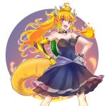 1girl ahoge black_dress blonde_hair bowsette bowsette_(cosplay) breasts collar cosplay dress earrings fire highres horns iesupa jewelry large_breasts long_hair mario_(series) new_super_mario_bros._u_deluxe nintendo prosthesis prosthetic_arm rwby sharp_teeth solo spiked_collar spiked_shell spiked_tail spikes strapless strapless_dress super_crown tail teeth turtle_shell violet_eyes wavy_hair yang_xiao_long