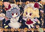 2girls :d ascot bangs bat_wings black_background blonde_hair blue_background blue_hair blunt_bangs blush_stickers bow brooch candy candy_cane checkerboard_cookie checkered checkered_background cherry chibi commentary_request cookie crystal cupcake daimaou_ruaeru doughnut dress eyebrows_visible_through_hair fang flandre_scarlet food french_cruller frilled_shirt_collar frills fruit full_body hair_between_eyes hand_up hat hat_bow hat_ribbon high_heels holding holding_food jewelry laevatein macaron mob_cap multiple_girls one_side_up open_mouth outline petticoat pretzel puffy_short_sleeves puffy_sleeves red_bow red_eyes red_footwear red_ribbon red_skirt red_vest remilia_scarlet ribbon shoes short_sleeves siblings sisters skirt skirt_set slit_pupils smile standing standing_on_one_leg touhou vest white_dress white_hat white_outline wings yellow_neckwear