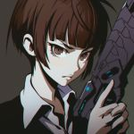 1girl bangs blunt_bangs brown_eyes brown_hair chromatic_aberration closed_mouth collared_shirt dominator_(gun) dress_shirt face gun handgun ilya_kuvshinov looking_at_viewer psycho-pass serious shirt short_hair solo trigger_discipline tsunemori_akane upper_body weapon wing_collar