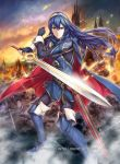 1girl axe blue_cape blue_eyes blue_hair boots cape castle embers falchion_(fire_emblem) fingerless_gloves fire fire_emblem fire_emblem:_kakusei fire_emblem_cipher gloves glowing glowing_eyes holding holding_sword holding_weapon leggings long_hair lucina nintendo official_art planted_sword planted_weapon polearm serious sheath solo spear sword thigh-highs thigh_boots tiara weapon yamada_koutarou zombie